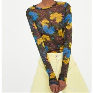 Zara Tops - Metallic Tulle Long Sleeve